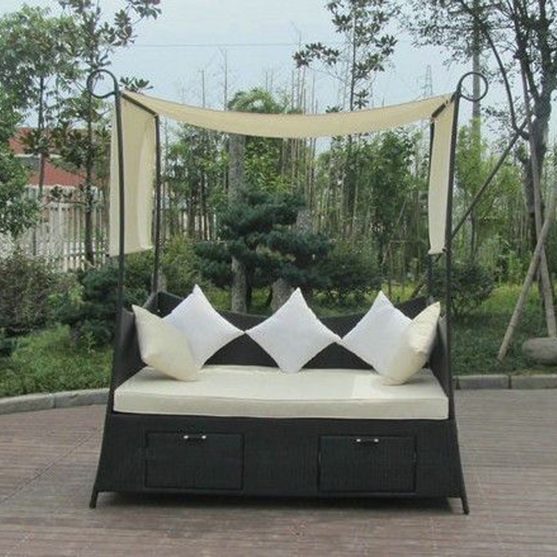 Comfortable Hand-Woven Outdoor Rattan Daybed For Garden / Patio transport by sea tear drop shape outdoor rattan daybed for swimming pool poolside transport by sea