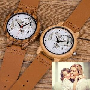 Image 2 - カスタムブランド自身の写真腕時計ユニークな竹木革因果石英男性はカスタマイズされたロゴ誕生日ギフト