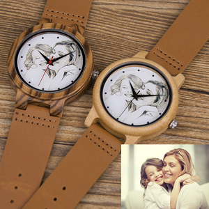 Image 2 - Custom Brand Your Own Photo Watch Unique Bamboo Wood Leather Causal Quartz Men Watches Customized Logo Birthday Gift For Lovers
