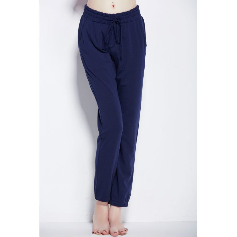 Autumn   Homewear Women Casual Sleepwear Bottom Ladies Ankle-Length Nighty Pants Female  Cotton Trousers With Belt