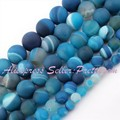 "Natural Agate Round Stripe Frost Blue Beads Strand 15"",6,8,10,12,14mm For Jewelry Making DIY Accessories,Wholesale Free Shipping"
