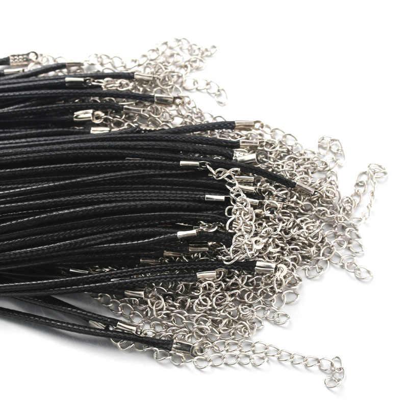 สีดำคุณภาพสูง 60 เซนติเมตรเชือกถักสร้อยคอกุ้งก้ามกราม clasp เชือก 20 ชิ้น/ล็อตกุ้งก้ามกราม Clasp สาย 9665