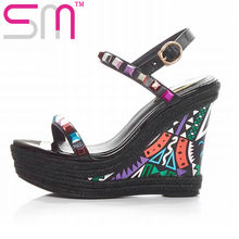 Ethnic Style Genuine Leather Women's Sandals Mixed Colors Rivets Wedges Sandals Platform Summer Shoes Woman