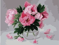 MaHuaf X629 Digital Oil Painting On Canvas Handwork Gift Pink Peony Flowers 40x50cm Framed Handwork Pictures