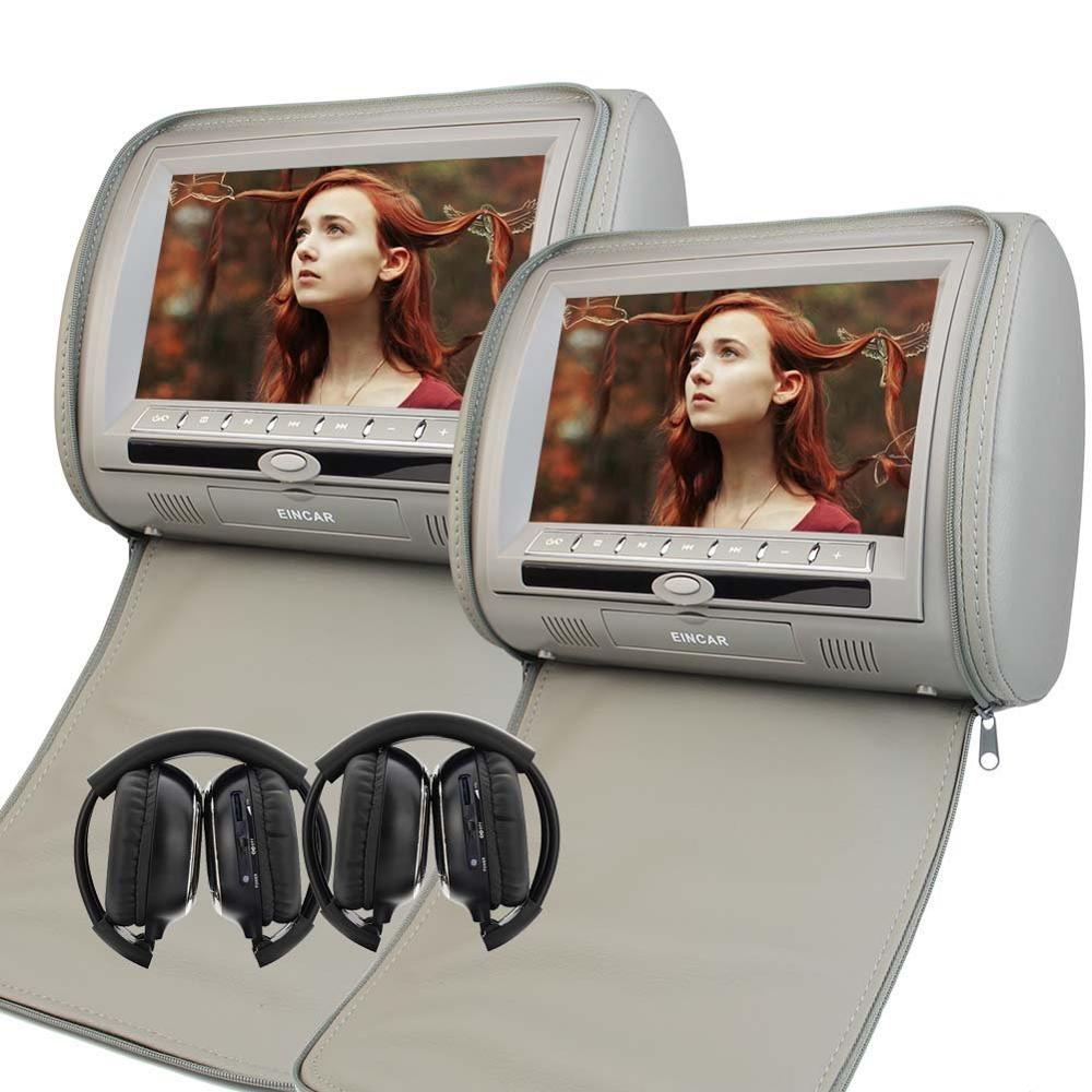 2 IR headphones+9 Car Pillow Monitors HD LCD Screen Car Headrest Twin Pillow Monitor Mp3 DVD Player FM/IR Transmitter USB/SD eincar car 9 inch car dvd pillow headrest two monitor lcd screen usb sd 32 bit game fm ir multimedia player free 2 ir headphones