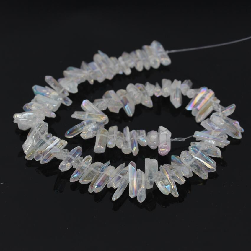 15.5Strand White AB Titanium Polished Crystal Quartz Top Drilled Point Pendant Beads,Rock Raw Druzy Crystal Chip Nugget Beads