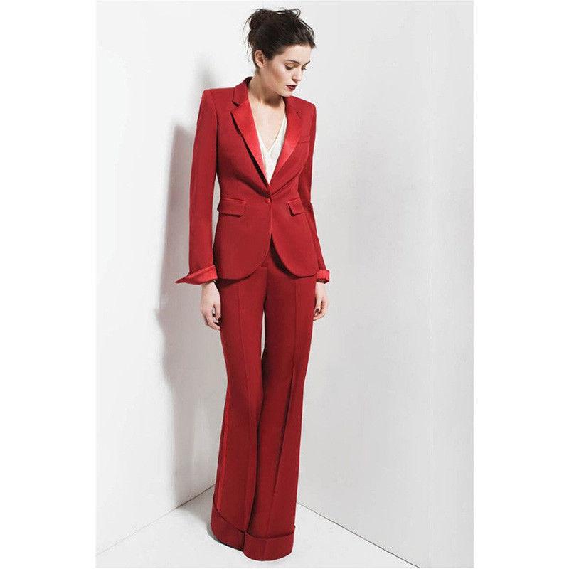 Red Satin Lapel Office Uniform Women Business Suits Jacket+Straight Trousers