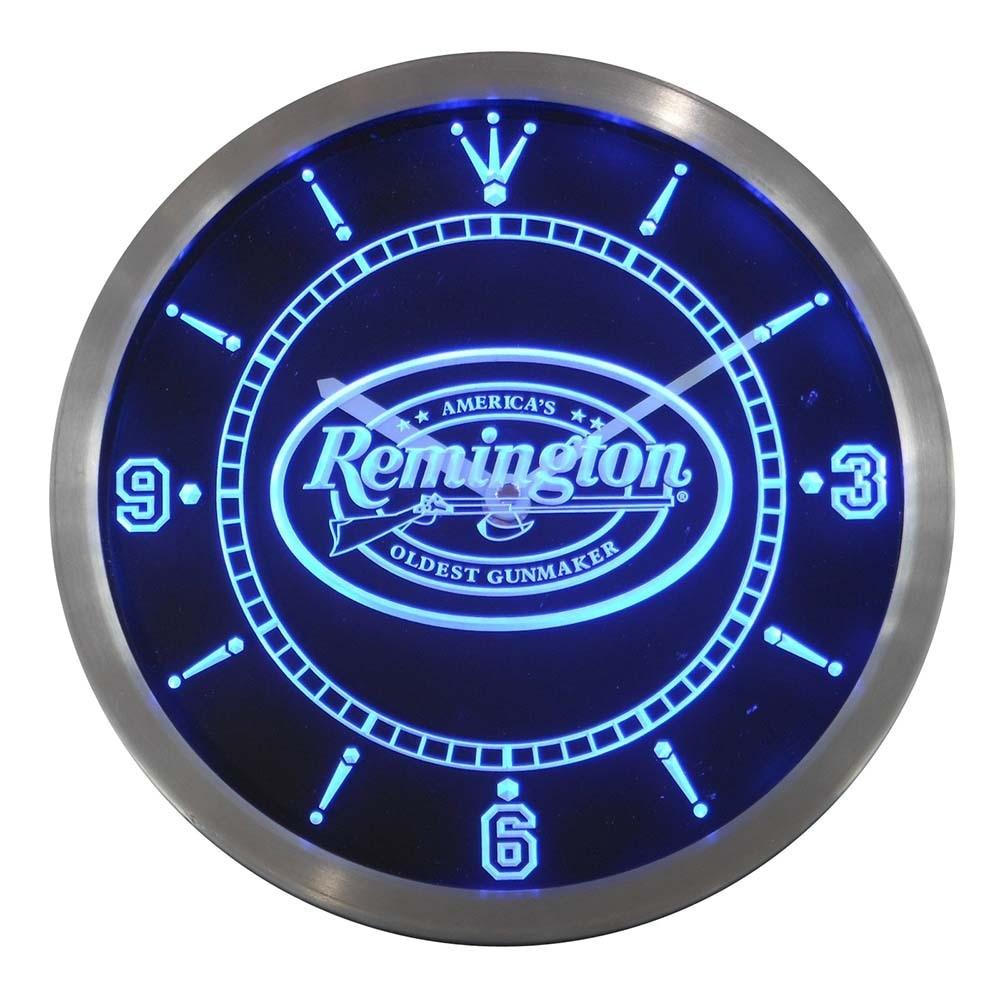 Nc0185 Remington armes à feu chasse pistolet néon signe horloge mur LED
