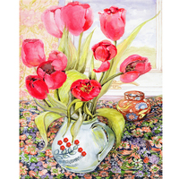 DIY Diamond Painting Flowers Specially Shaped Needlework DIY Full Drill Tulip Wall Specially Shaped Diamond Emboridery