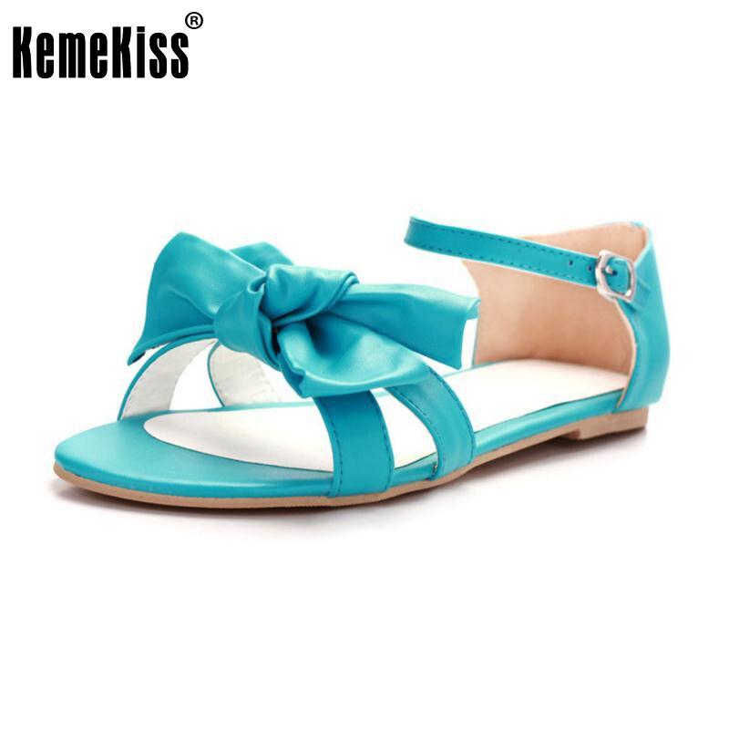 KemeKiss Women Flats Sandals Peep Toe Ankle Buckle Shoes Women Bowknot Daily Leisure Sandals Lady Fashion Footwear Size 32-43