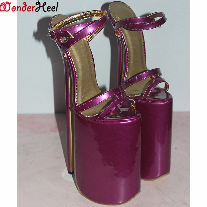 678e8d5118f0 Wonderheel extreme high heel sandal 30cm heel with platform patent Sexy  fetish High Heel BUCKLE STRAP sex SANDAL Big yard US15-in Women s Sandals  from Shoes ...
