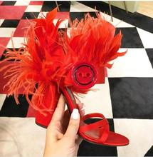Hot Classics Feather Fringe Women Sandals Button Hook & Loop OPen Toe High Heels Buckle-Wrap Runway Party Sho