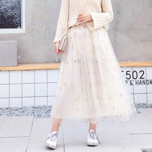 Image 4 - Flectit jupe Tutu à paillettes pour femmes, en Tulle, étoiles, en maille transparente, longueur Midi