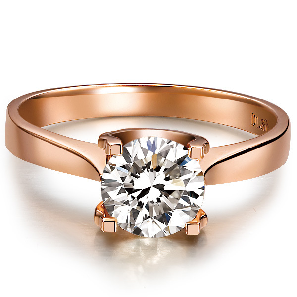 Genuine 18K Rose Gold Jewelry 1CT Female Ring Engagement For Women