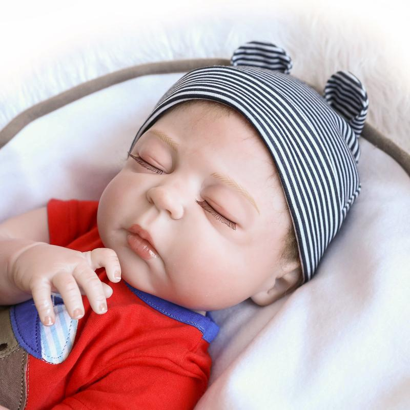 Sleeping 18 Inch Full Body Silicone Vinyl Realistic Reborn Baby Boy Doll Toddler
