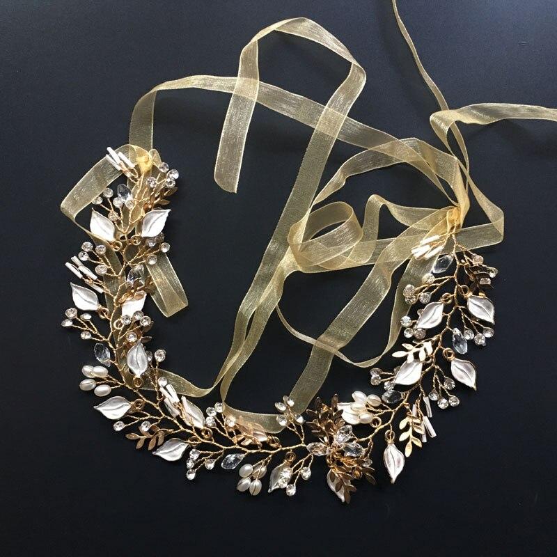 Gorgeous cinta hecha a mano de perlas de cristal flor hoja boda Tiara pelo Vine Bridal Headband accesorios para el cabello joyería de las damas