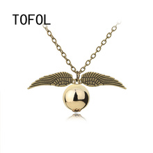 TOFOL Snitch Gold Necklace The Deathly Hallows Burglar Necklaces Hogwarts Golden Ball Wings Vintage Pendants