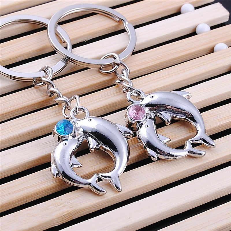 Mamojko Pretty Ehinestone брелок в форме дельфина для пары модная ключница сумка Пряжка аксессуар Очаровательная Сумочка Подвеска Брелок