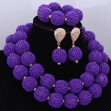 Fashion African Beads Jewelry Sets Handmade Balls Nigerian Bridal Necklace Jewelry Set 2017 Purple 2 Layers Jewellery