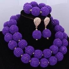 Moda afrykańskie koraliki biżuteria ustawia Handmade kulki nigeryjczyk naszyjnik ślubny zestaw biżuterii 2017 fioletowy 2 warstwy biżuterii