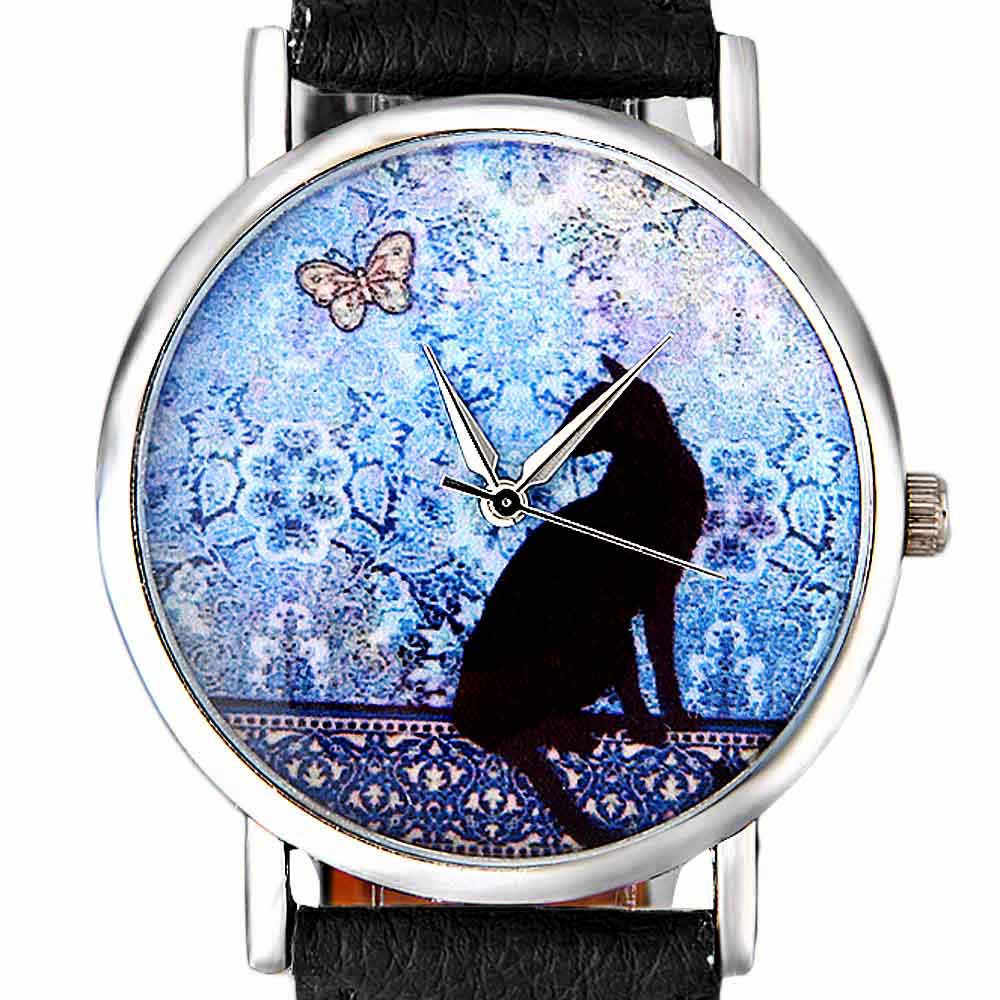 Cat Pattern Leather Band Analog Quartz Vogue Wrist Watch Womens Watches Top Brand Luxury Reloj Mujer 2018 Women Watches