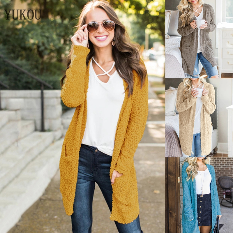 Womens Sweaters 2019 Fashion Winter Autumn Knitted Sweater Women Loose Cardigan Long Sweater Best Sellers