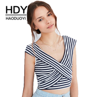 HDY Haoduoyi Brand Sexy V Neck Striped Chic Women Top Tees Casual Slim Sweet Wrap Female