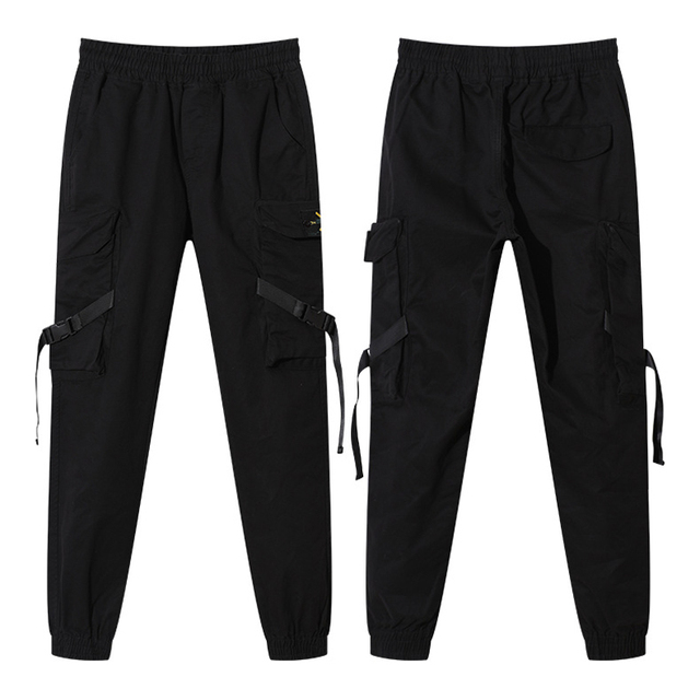 2019 NEW Streetwear Ribbons Casual SweatPants Black Slim Mens Joggers Pants Side-pockets Cotton Camouflage Male Trouser 6