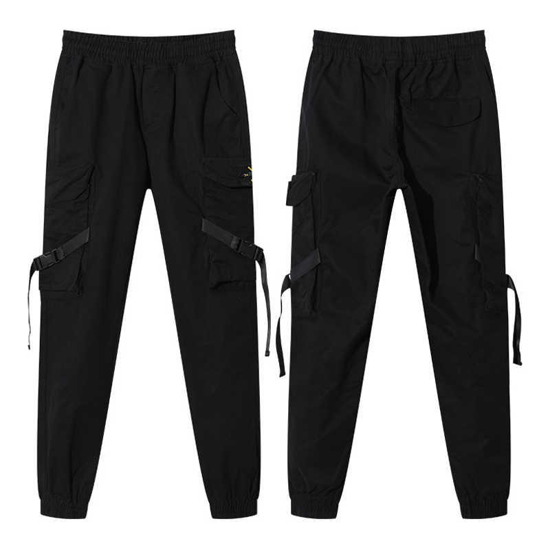 Новинка 2019, уличная одежда, повседневные спортивные штаны с лентами, черные тонкие мужские штаны для бега с боковыми карманами, хлопковые камуфляжные мужские брюки