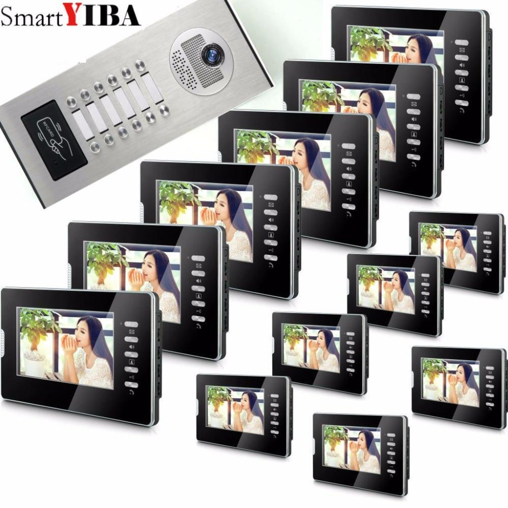 SmartYIBA 7 Экран видеодомофон телефон двери квартиры Системы 12 черный Мониторы RFID дверца Камера для 12 бытовые