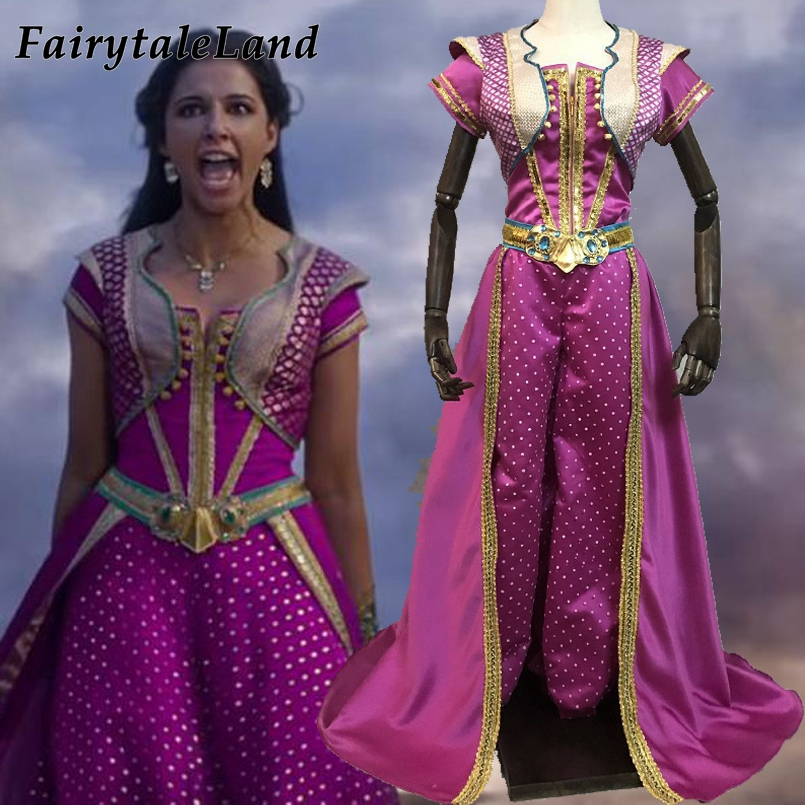 Jasmine Cosplay Costume Halloween Cosplay Movie Aladdin Princess Outfit Rose Red Suit Fancy Top Pants