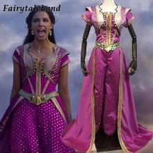 Jasmine przebranie na karnawał Halloween Cosplay Movie Aladdin księżniczka strój różany czerwony garnitur fantazyjne najlepsze spodnie