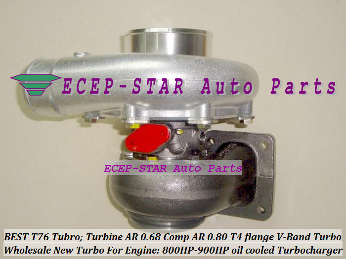 Turbocharger Turbo only oil cooled T76 Turbine AR 0.68 Comp AR 0.80 800HP-900HP T4 Turbo charger T4 flange V-Band (2)