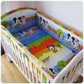 Promotion! 6PCS cartoon mickey minnie mouse environment-friendly baby crib bedding set,include (bumpers+sheet+pillow cover)