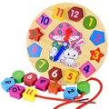 Новые деревянные шнуровкой 12 цифровая геометрическая часы детские образование деревянные часы цвет Головоломки игрушки Детские игрушки подарки