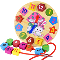 The new wooden lacing 12 digital geometric clock infant education wooden clock color Puzzle toys Children toys gifts