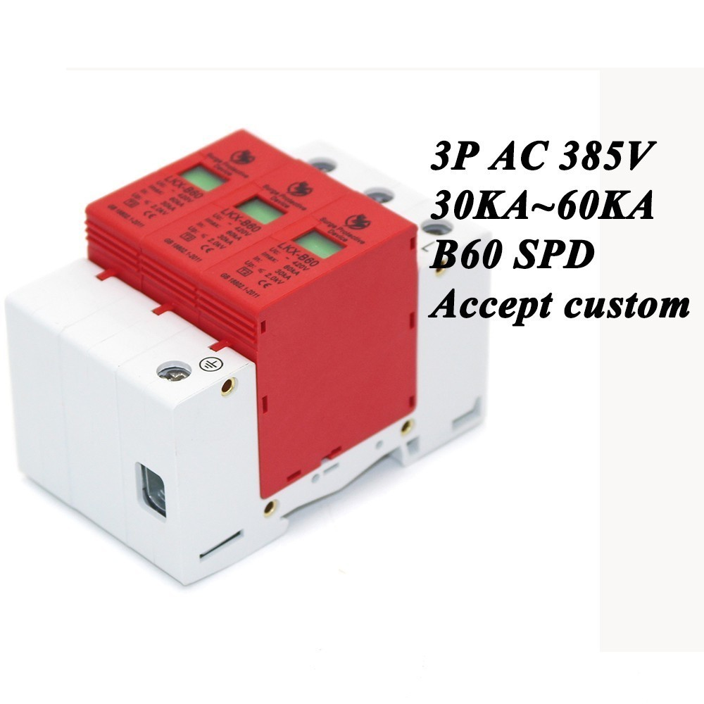 B60-3P 30KA~60KA ~385V AC SPD House Surge Protector Protective Low-voltage Arrester Device 2P+N Lightning protection [zob] hagrid spn465r surge protection device 4 65ka t2 grade imported 3p n lightning surge
