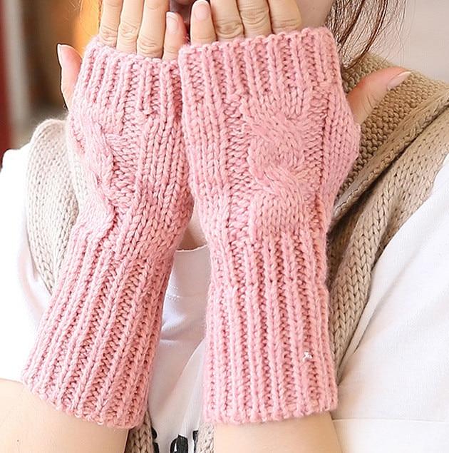 Initiative Einfarbig Hand Gestrickte Frauen Handschuhe Handgelenk Arm Wärmer Winter Halbhand Mitten Damen-accessoires Armstulpen
