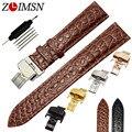Zlimsn 18mm 20mm cinturón marrón corto cocodrilo banda de reloj de cuero genuino correa de los hombres reloj de las mujeres relojes relojes hombre 2017 h78