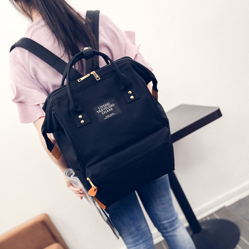 A Ring Backpack Canvas School Printing Ring Bag Backpack
