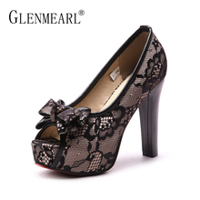 цены Super High Heels Shoes Women Pumps Brand Lace Bowtie Woman Wedding Shoes Thick Heels Peep Toe Black Spring Single Lady Pumps DI