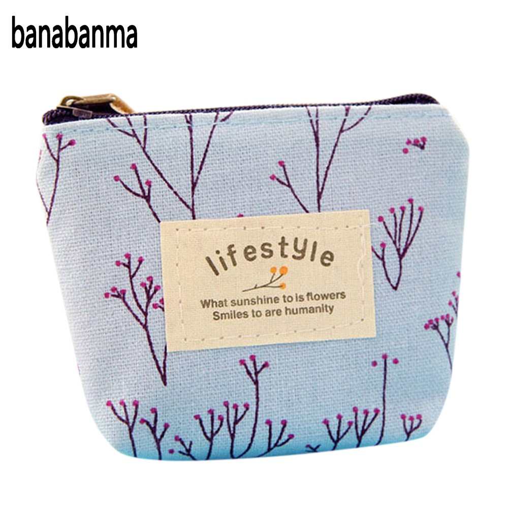 Banabanma Cartoon Cute Coin Money Wallet Fashion Printing Mini Canvas Zipper Purse Key Coins Bag Small Pouch Handbags ZK30