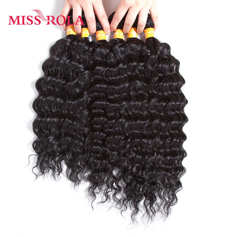 Miss Rola 1B# Black Synthetic Rose Wave Hair Extensions 6pcs/Pack Kanekalon Fiber Wavy Weave for Women 14-18 inch Weaving