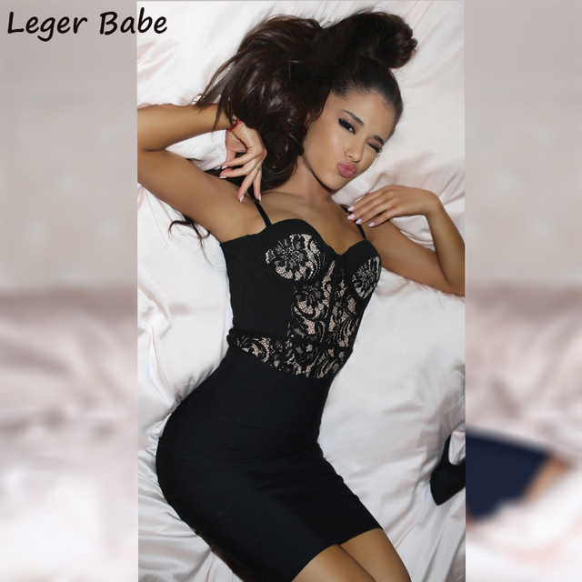 936bd8c0bc2 2019 ariana grande Spaghetti Strap Black Lace Party Bandage Dress Women  Outfits Summer Mini Vestidos Sexy Girls Short Dresses