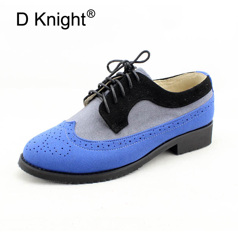 D Knight Lace-Up Brogue Shoes Women Wingtip Round Toe Genuine Cow Leather Mixed Colors Casual Flats for Ladies Gilrs Size 33-45