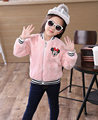 Teenage Girls Baseball fur Jackets winter Kids Girls Hoodies Sweatshirt Sportswear Top Girls kitty coat Patterned fur Coat