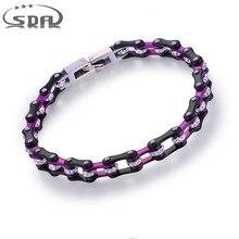 "SDA Moda Stianless Acero Bangles Pulseras para Las Mujeres Negro Púrpura Brillante de Cristal de 7mm de ancho 16 CM/17 CM/18 CM/19 CM/20 CM ""YM130N"