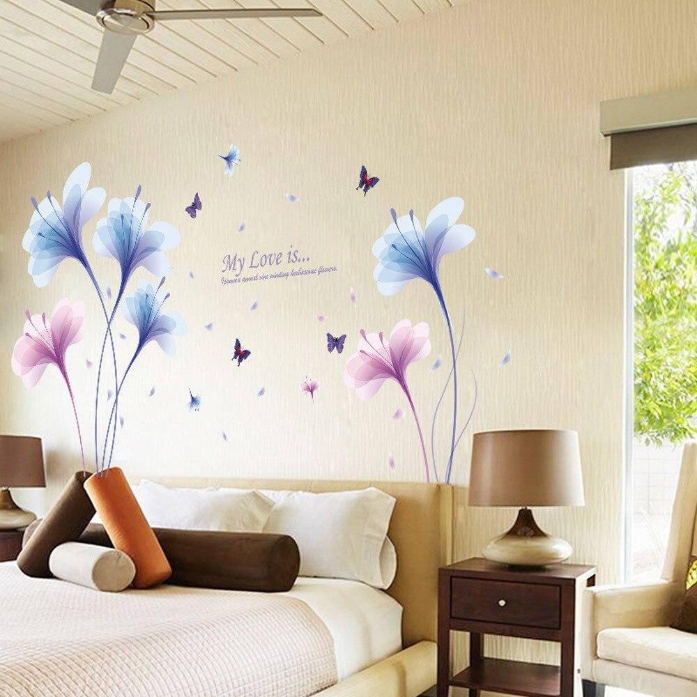 3d Wandaufkleber Blume Lila Traum Orchidee DIY Abnehmbare Wandtattoo Wohnzimmer Home Tapete Wandbild Kunst Wohnkultur 2017