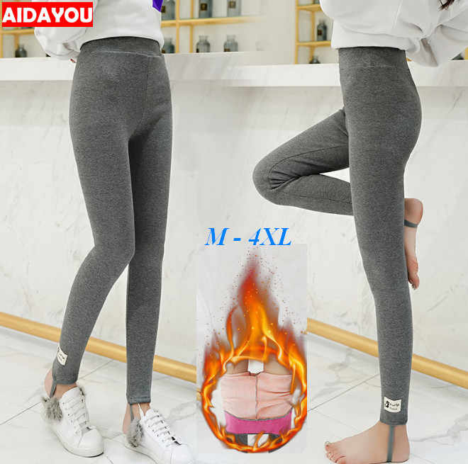 4385d65a3a4307 Winter Fleece Lined Leggings Plus Size 5XL Cotton Cat Korean kawaii Warm  Thick Thermal Pants High