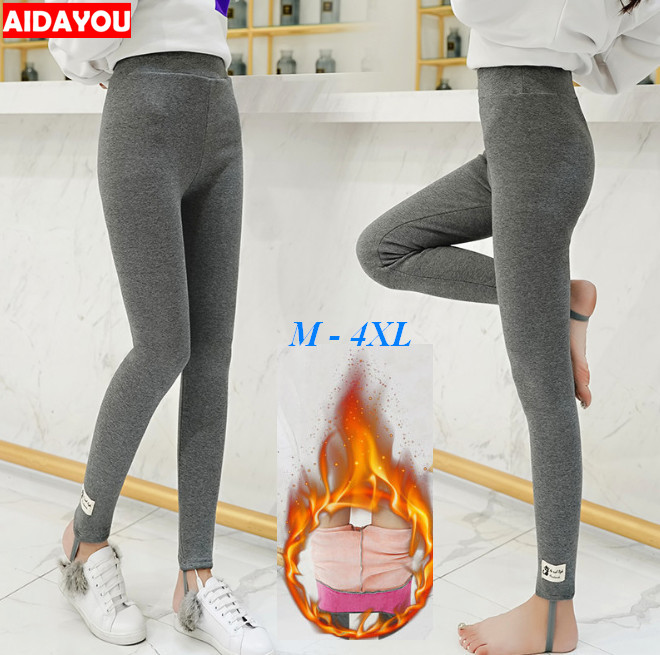 Winter Fleece Lined   Leggings   Plus Size 5XL Cotton Cat Korean kawaii Warm Thick Thermal Pants High stretchy Elastic ouc1706